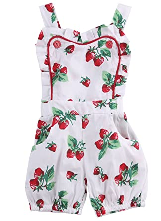 eb9ab0a8d24 Amazon.com  ONE S Baby Infant Girls Strawberry Fruit Floral Bodysuit Ruffle  Romper Summer Outfits  Clothing