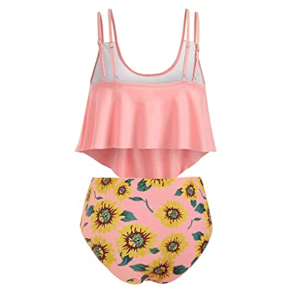 da6f762b1d6fc Amazon.com: Women Two Pieces Bathing Suits - Top Ruffled with High Waisted  Bottom Bikini Set,Womens Tank Tops Workout Loose Fit: SUNSEE WOMEN'S  CLOTHES ...