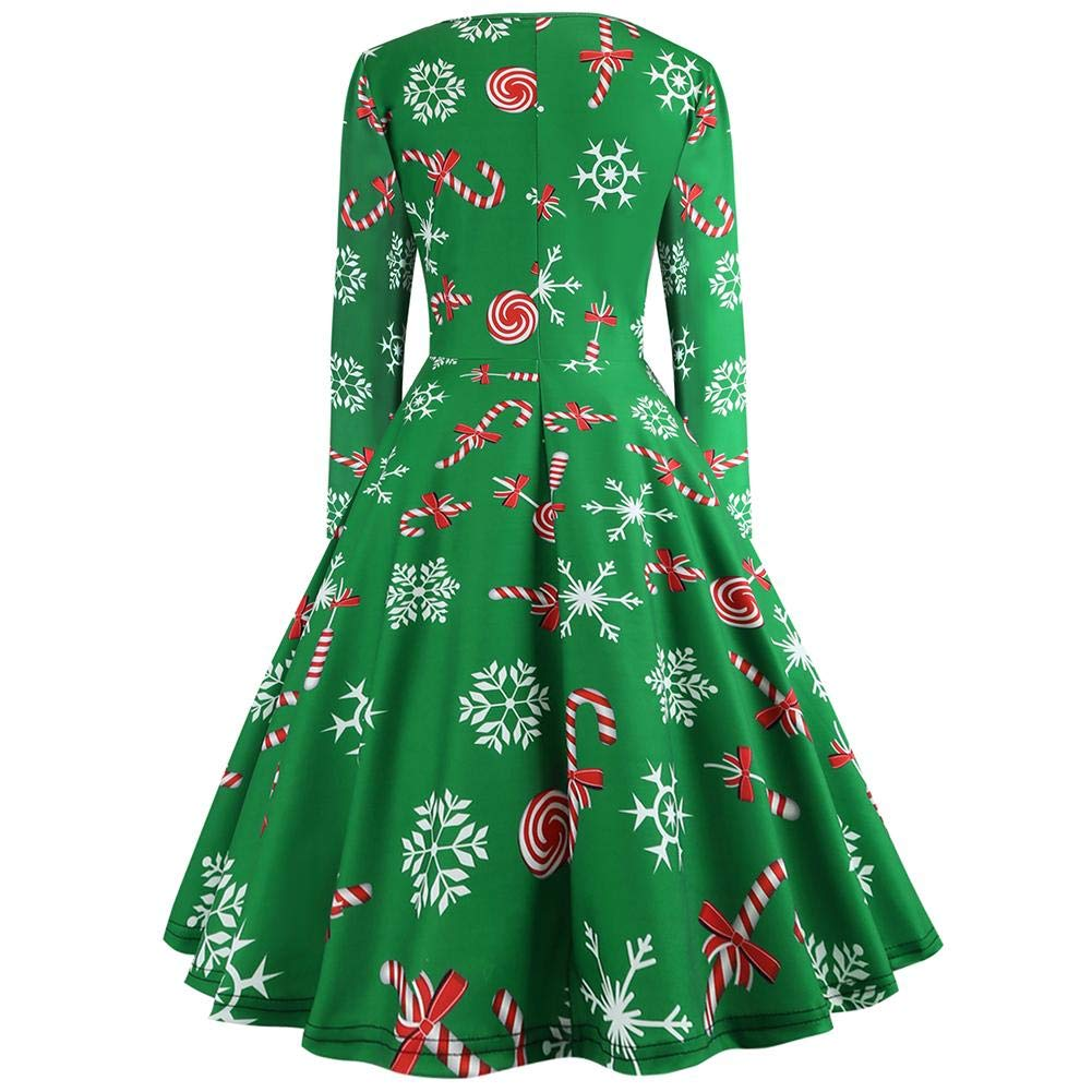 9bf9c34c047 Sexy Femme Robe Vintage Noël - Vêtement Femme Dress Fête Long Manches  Design Rétro Hepburn O-Cou Halter Automne Hiver Imprimé Dessin Noël Piecing  Cadeau ...