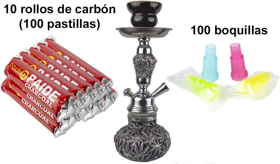 PAIDE Cachimba Forma Marihuana - Shisha narguile Hookah - 100 Pastillas de carbón, 100 boquillas(Gris)
