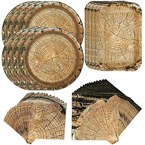 Havercamp Cut Timber Party Bundle | Dinner & Dessert Plates, Luncheon & Beverage Napkins | Great for Lumberjack Themed Events, Outdoor Celebrations, Adult & Children Camping Parties (Wood Printed Plates Paper)