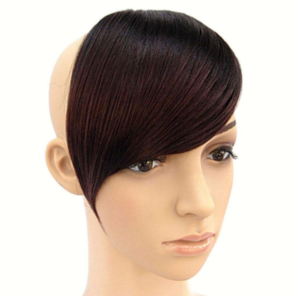 Weixinbuy Women's Tilted Frisette Bang Fringe Wig Headwear Clip-in Hairpiece Black