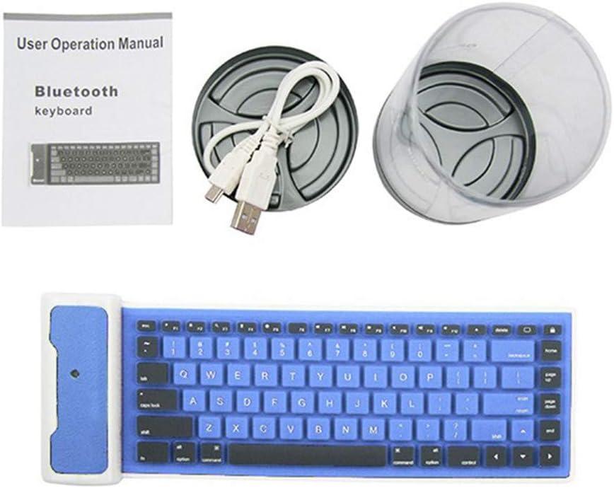 Color : Blue Ybriefbag Portable Keyboard 108-key Silicone Bluetooth Keyboard Android iOS Tablet Folding Keyboard Universal Ink Cartridge