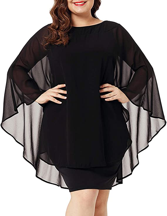 Women's Casual Chiffon Overlay Cocktail Party Dress