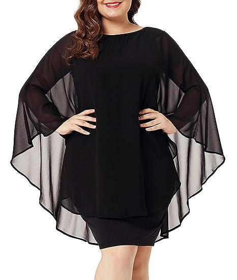 e01f1a6e537 Urchics Womens Casual Chiffon Overlay Plus Size Cocktail Party Knee Length  Dress Black M