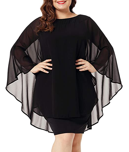 Womens Casual Chiffon Overlay Plus Size Cocktail Party Knee Length Dress