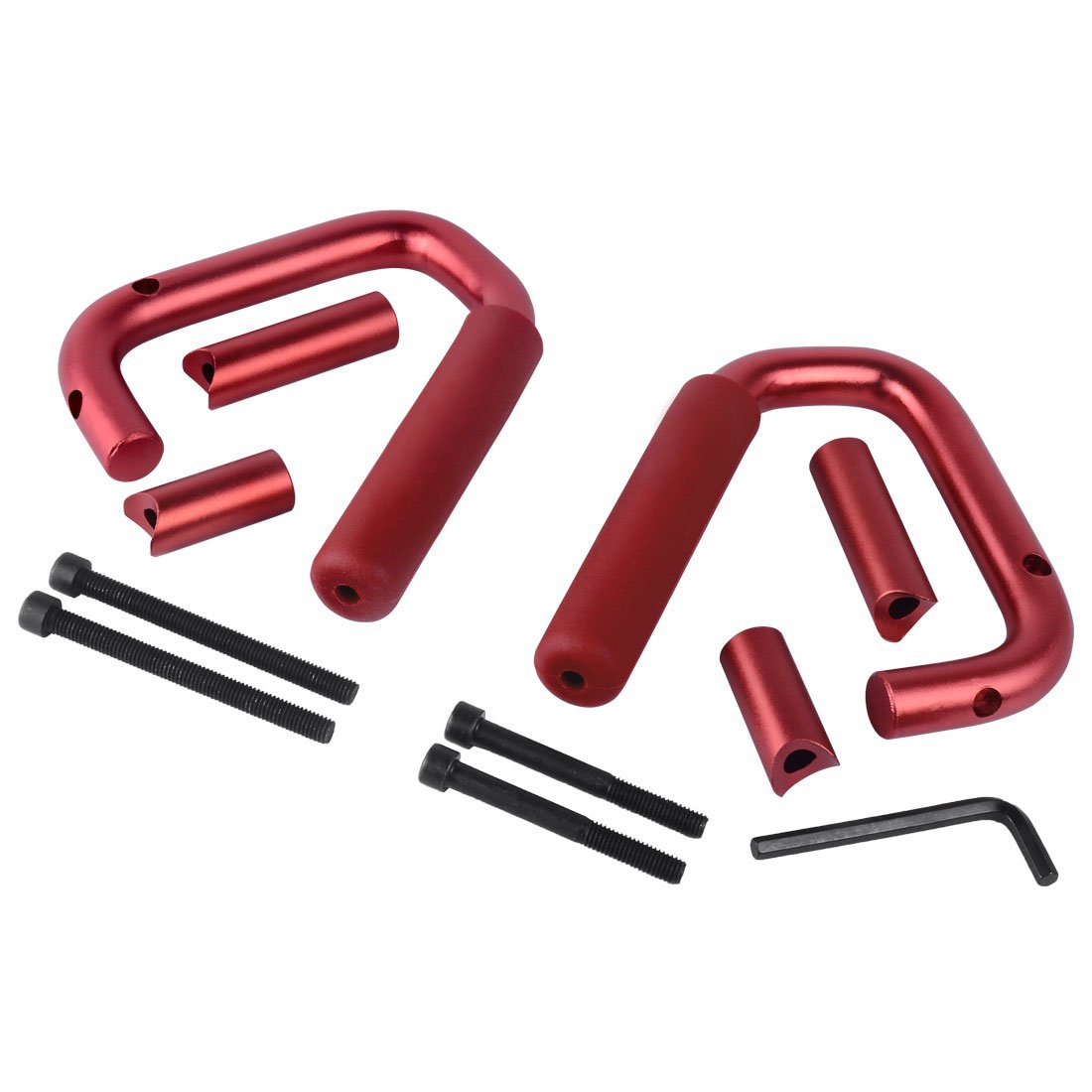 Red AUTOSAVER88 Front /& Rear Grab Handles Roll Bar Steel Grip Handles Compatible for Jeep Wrangler JK JKU Unlimited Sports Bubicon Sahara 2007-2018 4 Doors