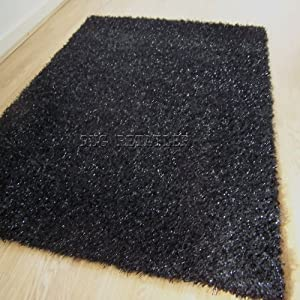 Yazz Black Amp Silver Sparkle Shaggy Rugs With Twinkling