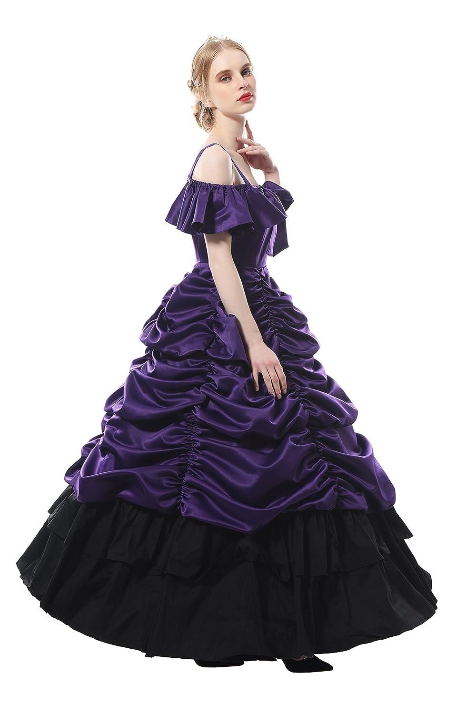 Nuoqi Damen Viktorianisches Kleid mit Reifrock Masquerade Partei ...