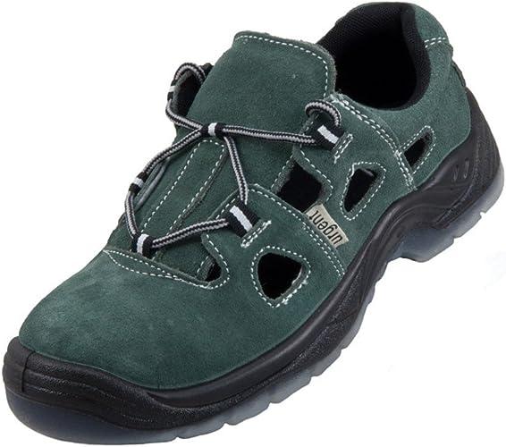 Urgent Leightweight Leather Men s Sandal Safety Work Shoe with Steel Toe Cap 301 S1 Black//Orange
