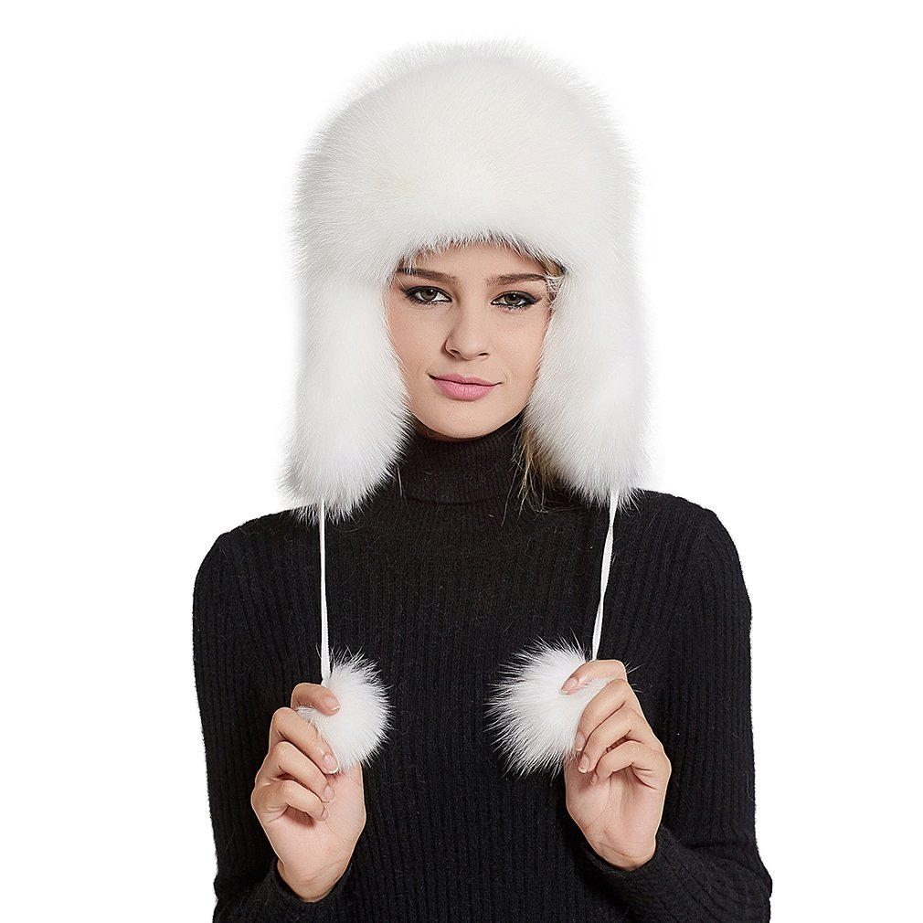 Fur Story Women's Trapper Hat with Sheep Leather Earmuffs Warm Winter Fur Hat (White)