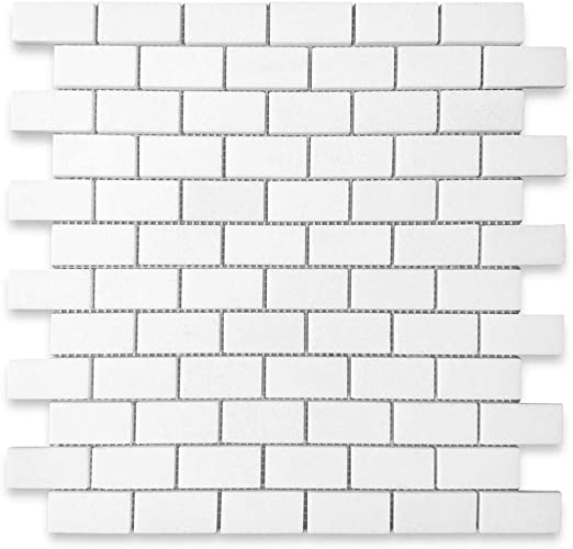 Stone Center Online Thassos White Marble 1x2 Medium Brick Mosaic Tile Honed For Kitchen Backsplash Bathroom Flooring Shower Surround Dining Room Entryway Corrido Spa 1 Sheet