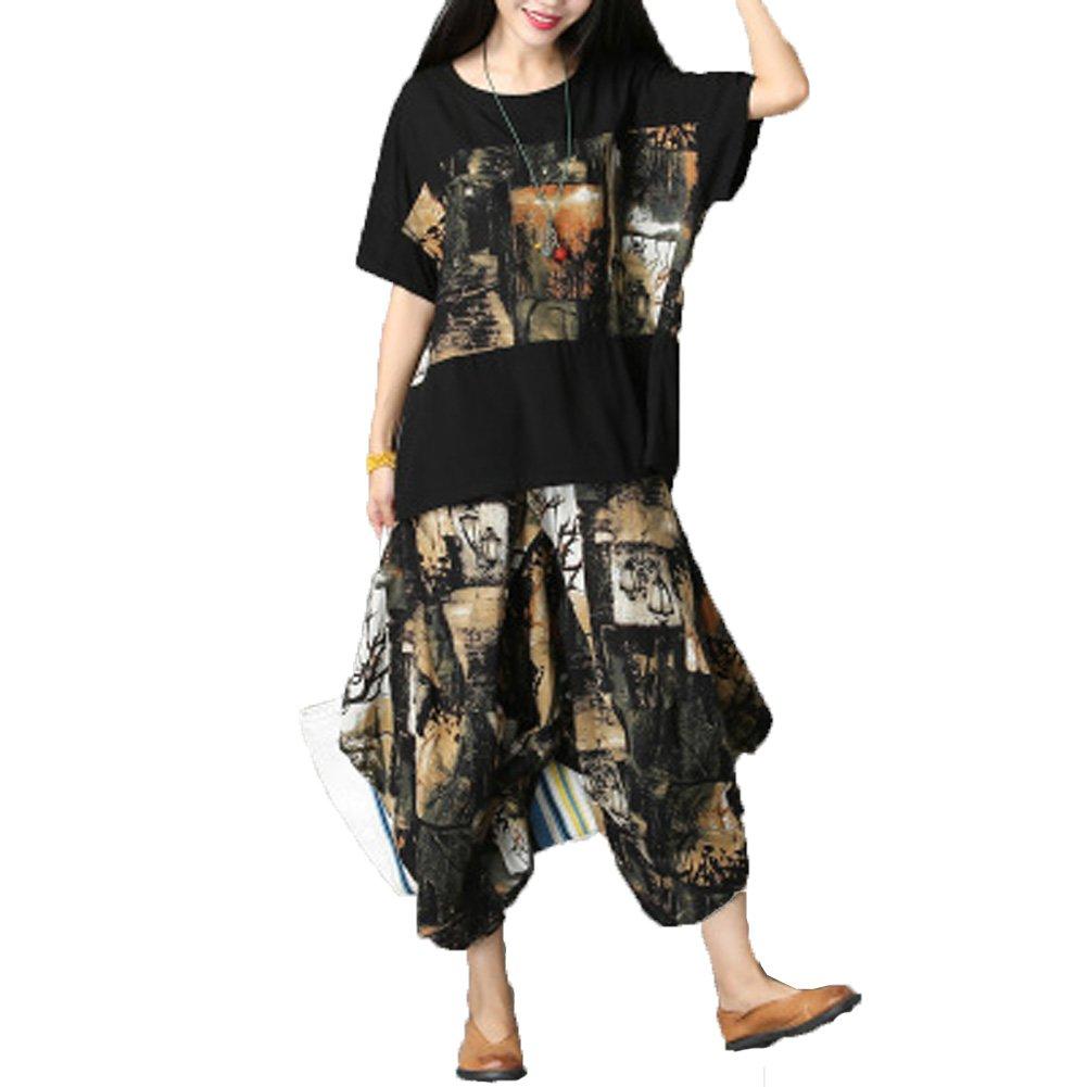 Dinier Girls Cotton Linen Set Floral Printing Short Sleeve T Shirt + Harem Pants 2 Piece Set Girls Suit Set 2018 Summer Fashion