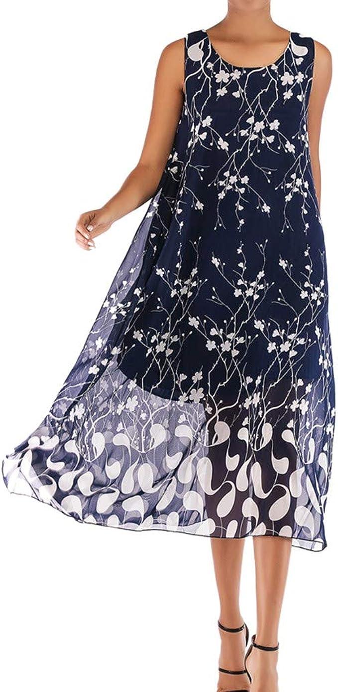 DressLksnf Vestido Gasa para Mujer Verano de Estampado Floral ...