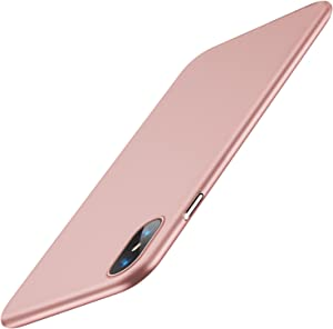 TORRAS Slim Fit iPhone Xs Case/iPhone X Case, Hard Plastic PC Super Thin Mobile Phone Cover Case with Matte Finish Coating Grip Compatible with iPhone X/iPhone Xs 5.8 inch, Rose Gold