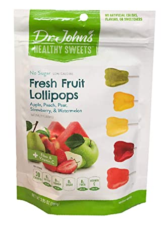 Dr  John's Healthy Sweets Sugar Free Fresh Fruit Tooth Shaped Lollipops  3 85oz (109g) 15's