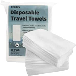"""Orbisey Large Disposable Bath Towels 32"""" x 15"""" - for Camping Trips, Vacations, Travel - (20 Pack)"""