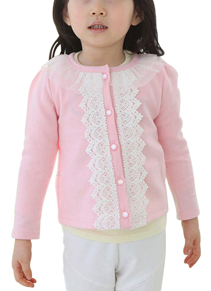Laurelor Baby Girl Lace Shrug Short Cardigan Button Sweaters Jacket Coat Tunic,Pink,Suggest Height:55.1''