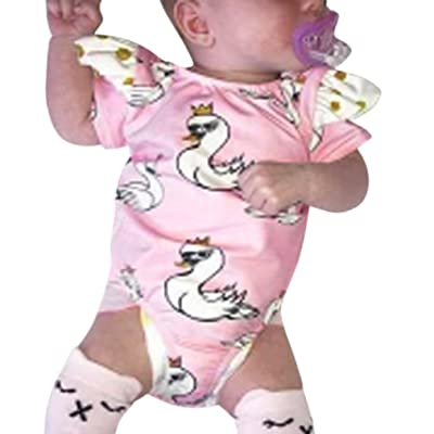 Sunbona Infant Newborn Baby Girls Swan Print Romper Playsuit Ruffles Jumpsuit Pajamas Outfits Clothes