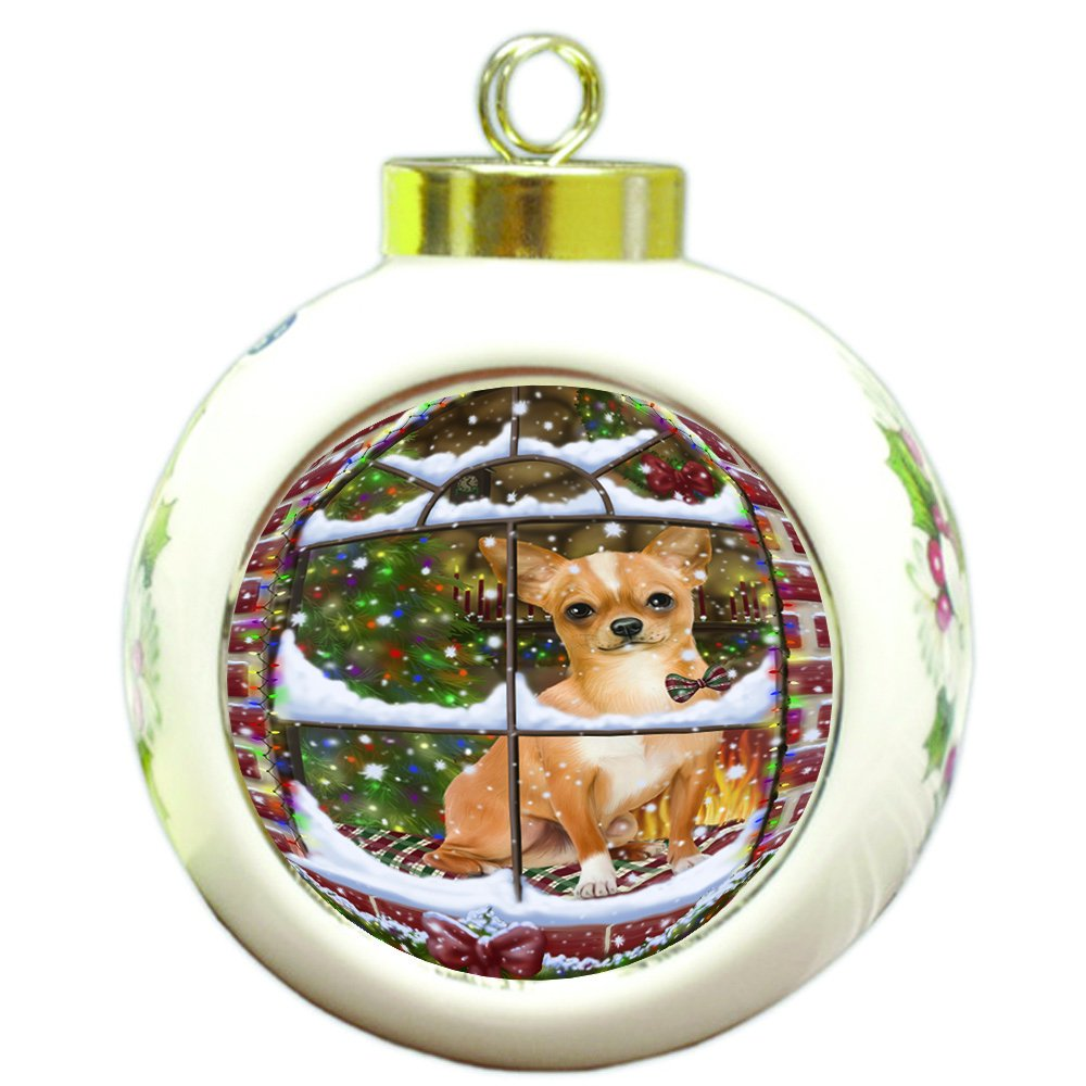 Please Come Home For Christmas Chihuahua Dog Sitting In Window Round Ball Christmas Ornament RBPOR48394