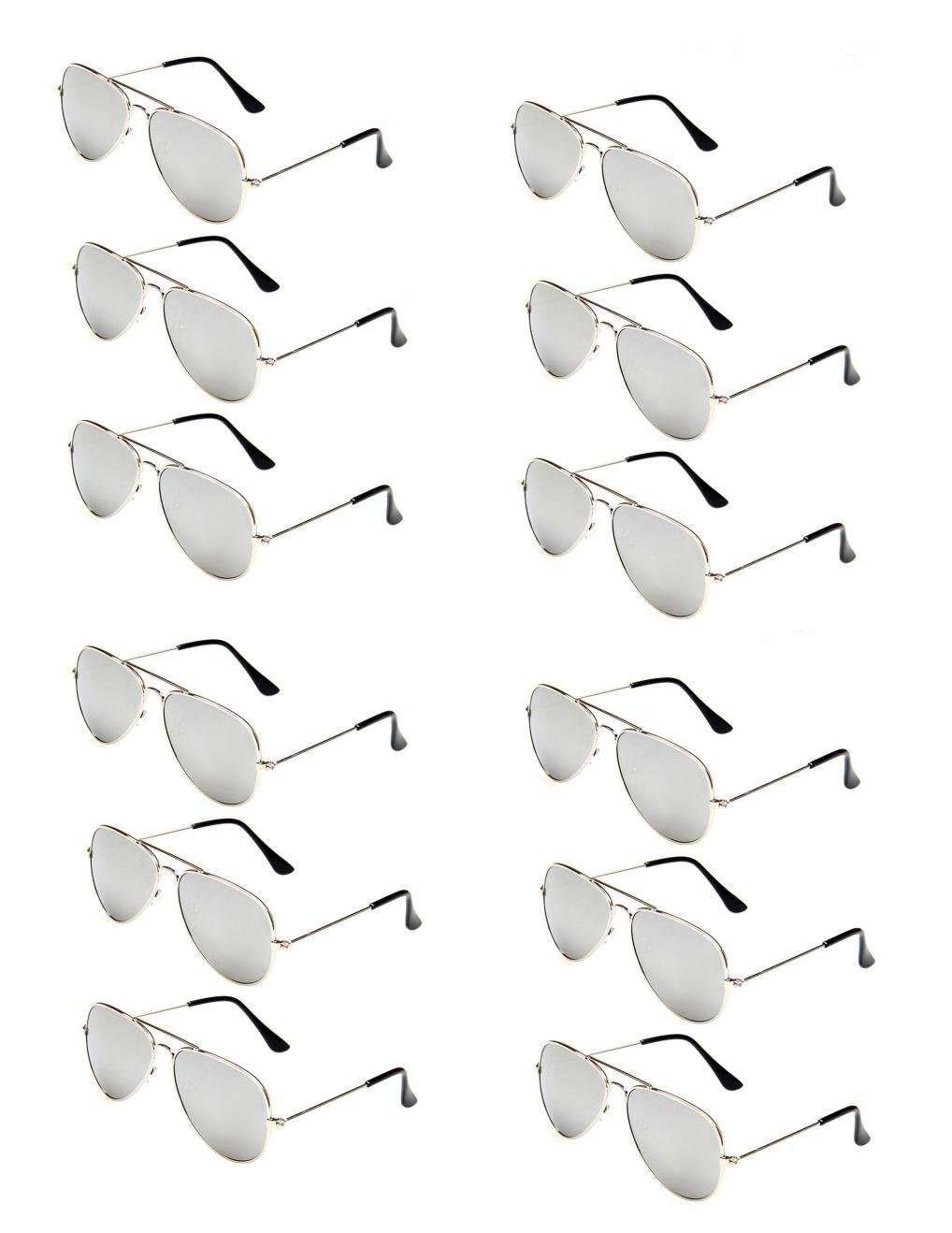 WODISON Classic Kids Aviator Sunglasses Bulk Metal Frame Children Party Eyeglasses 12 Packs JF Store