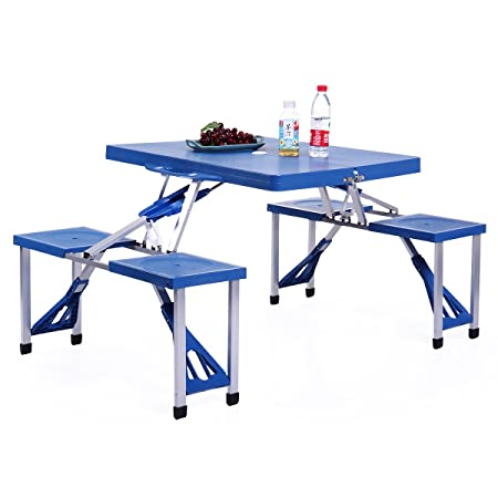 Sandinrayli Portable Folding Aluminum Camping Kids Picnic Party Table Outdoor BBQ Chairs w 4 Seats, Blue