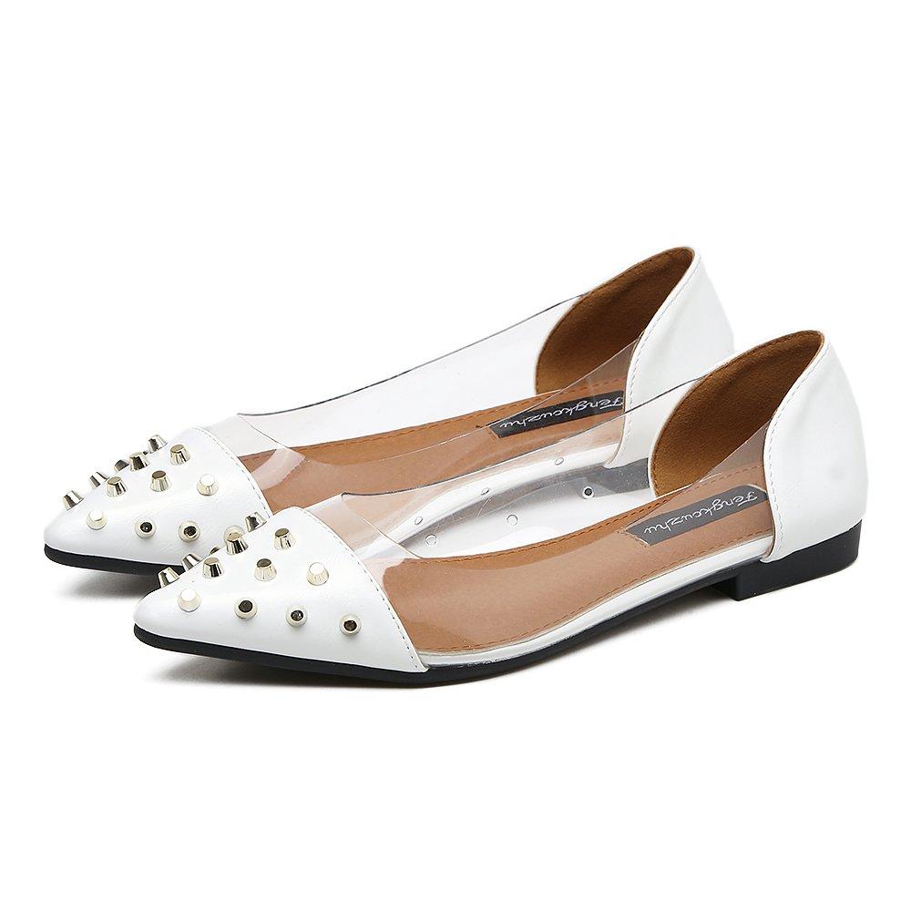 Xue Qiqi Court Schuhe Zeigte einzelne Schuhe weibliche Flache Schuhe transparente Glasplastikniete Flache Fersensandalen 37 weiß