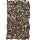 SKB family Grapevine Outdoor Thermometer and Clock, 8'' x 13.75'' x 2'' x 5 lbs, French Bronze