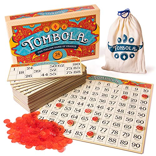 (Tombola Bingo Board Game | The Italian Game of Chance for Family, Friends and Large Parties Up to 24 Players! | Includes Calling Board, 90 Tombolini Tiles, 24 Double-Sided Cards and 360 Chips )