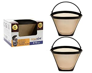GoldTone Brand Reusable #4 Cone Style Replacment Cuisinart Coffee Filter replaces your Permanent Cuisinart Coffee Filter for Cuisinart Machines and Brewers (2)