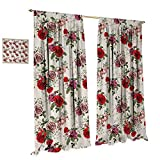 Anniutwo Shabby Chic Window Curtain Fabric Summer Spring Romantic Valetines Day Themed Flowers