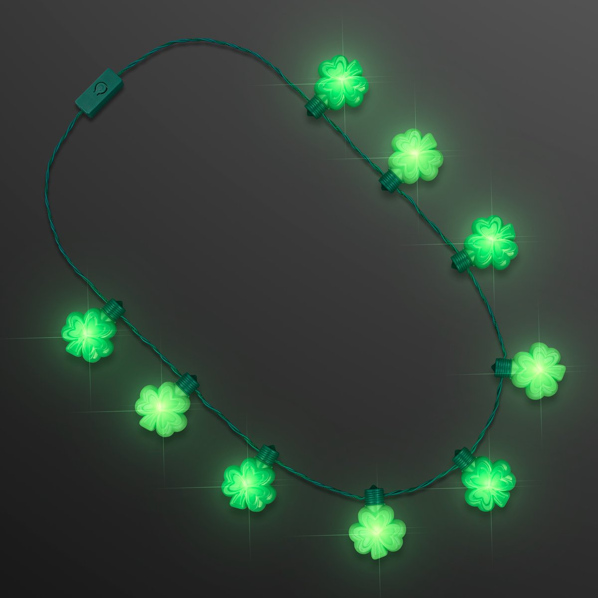 FlashingBlinkyLights Blinky Big Shamrock Light Up LED St. Patrick's Day Necklaces (Set of 12)