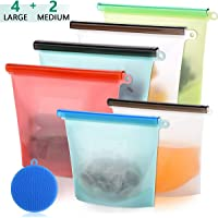 6-Pack Broom Reusable Silicone Food Storage Bags