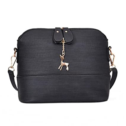 ae554a3f40 New Women Messenger Bags Shell Bag Leather Handbag Casual Packet with Small  Deer Decorate (Black