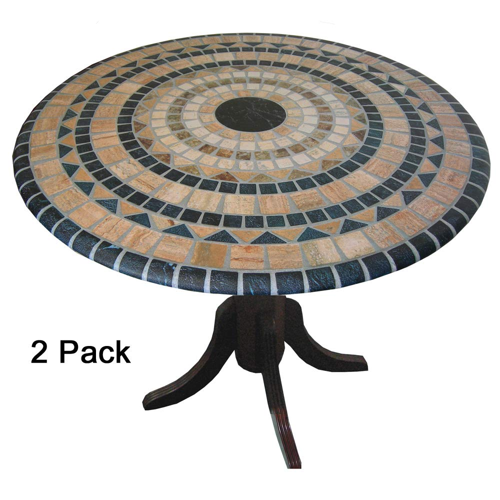 TableMagic 2 Pack of 2 Fitted Vinyl tablecloths(tablecovers, Table Covers)-Vesuvius Stone Mosaic for a Magical Transformation of 36'' - 48'' Tables
