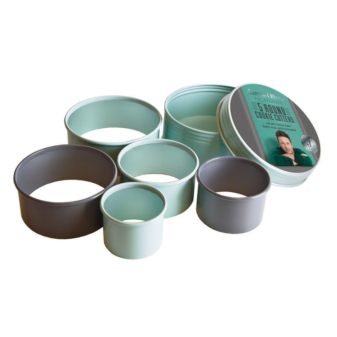 Jamie Oliver Cookie Cutting Set - Nesting Stainless Steel Round Shape Cutters - Includes Storage Container Tin, 5-Piece