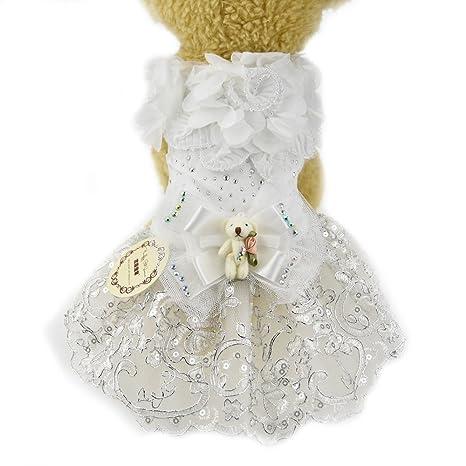 FLAdorepet Vestido de Princesa para Perro, de Encaje Blanco, con ...