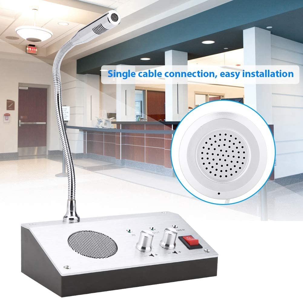 Bus Station etc Hospital Intercom System Window Speaker Intercom System Dual-way Counter Interphone with External Speaker Wireless Glass Window Microphone Ideal for The Bank Securities