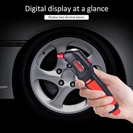 Digital de alta precisión Medidor de presión de neumáticos martillo de emergencia multifunción barómetro detector con