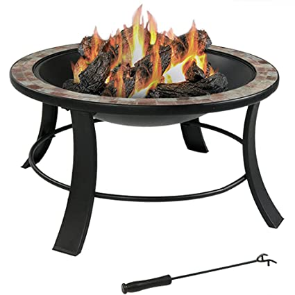 Amazoncom Sunnydaze Inch Natural Slate Fire Pit Table With - 30 inch fire pit table