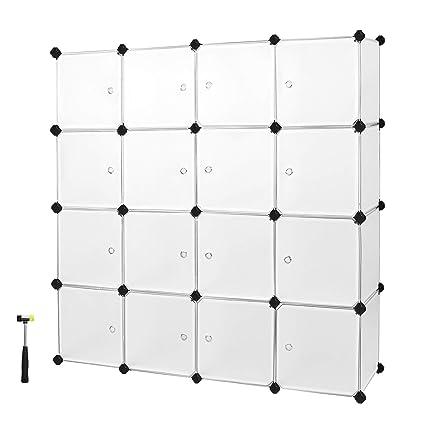 SONGMICS Armario Modular de plástico PP Estantería de almacenaje 16 Cubos 143 x 36 x 143