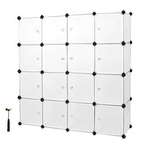852cce15ea28 Songmics Interlocking Storage Cube Organiser Shelf / Shoe Rack / Wardrobe  Cabinet 148 x 148 x 37 cm White LPC44B