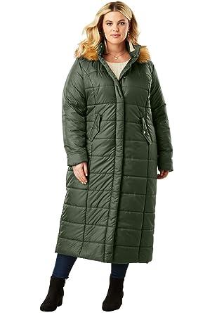 a7f655cd874 Amazon.com  Roamans Women s Plus Size Quilted Faux-Fur Trim Maxi Length  Parka  Clothing