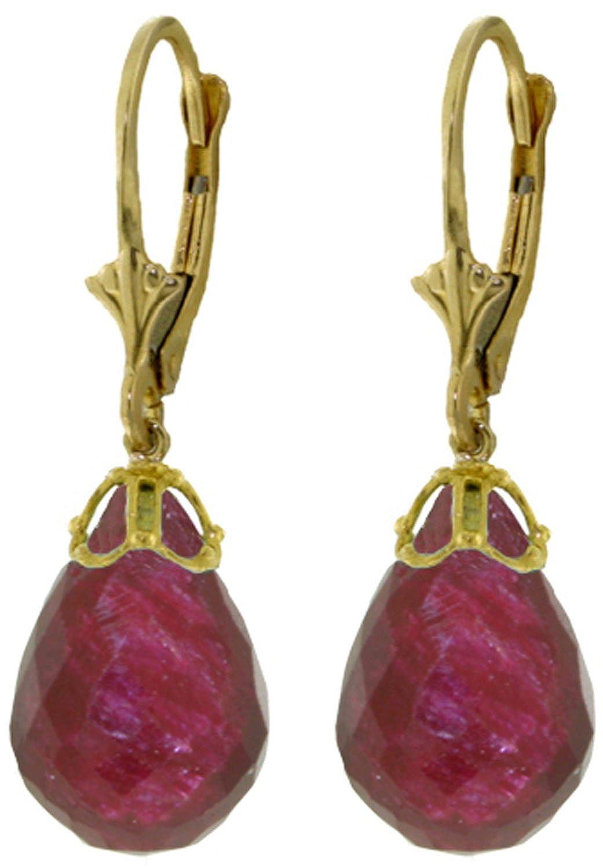 14K Yellow Gold Natural Briolette Ruby Drop Dangle Earrings