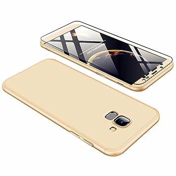JINCHANGWU Compatible con Funda Samsung Galaxy J6 2018, Carcasa Samsung Galaxy J6 2018 con [ Cristal Templado] Carcasa 3 en 1 Caso, Oro