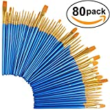 Paint Brush Set, Nylon Hair Brushes for Acrylic Oil Watercolor Painting Artist Professional Painting Kits (80 Pack)