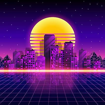 Amazon com : ERIC 10x10ft Retro Neon City Style 80's