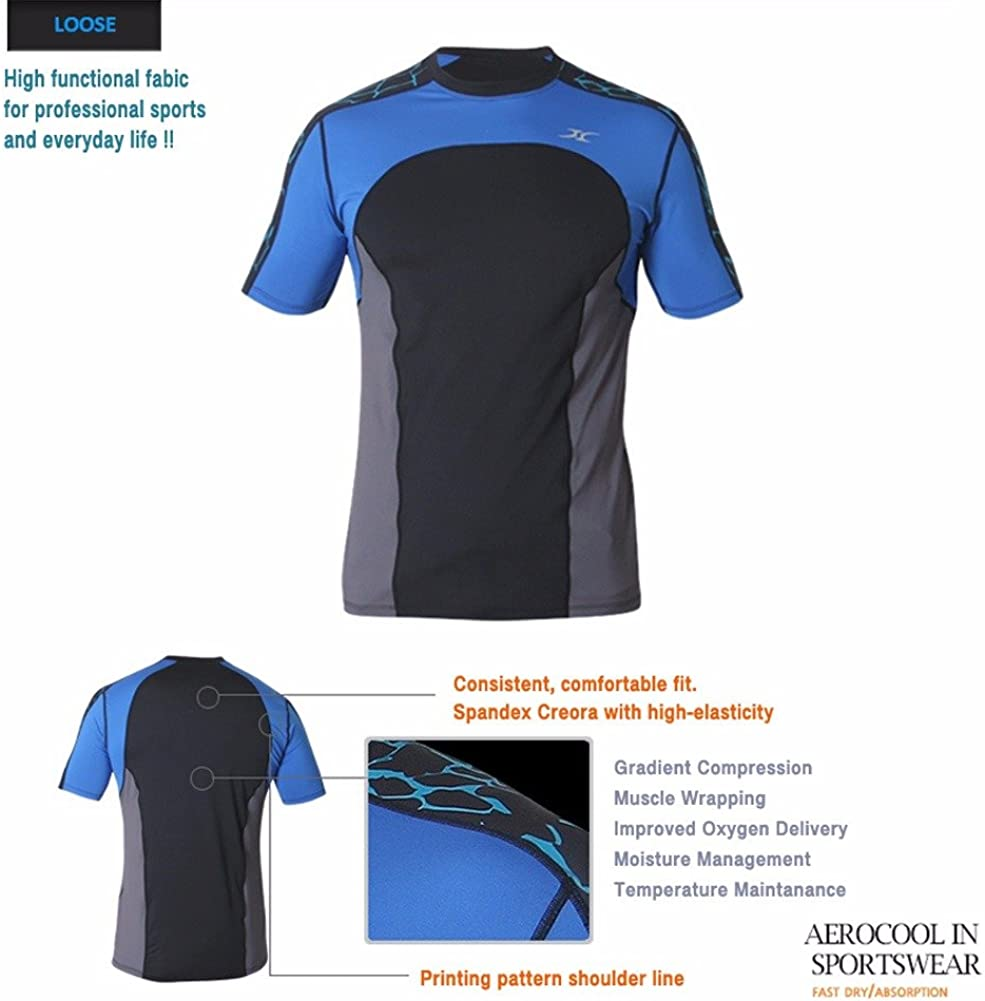Mens Loose fit Compression span Round Sports shirts Base layer short sleeve BM