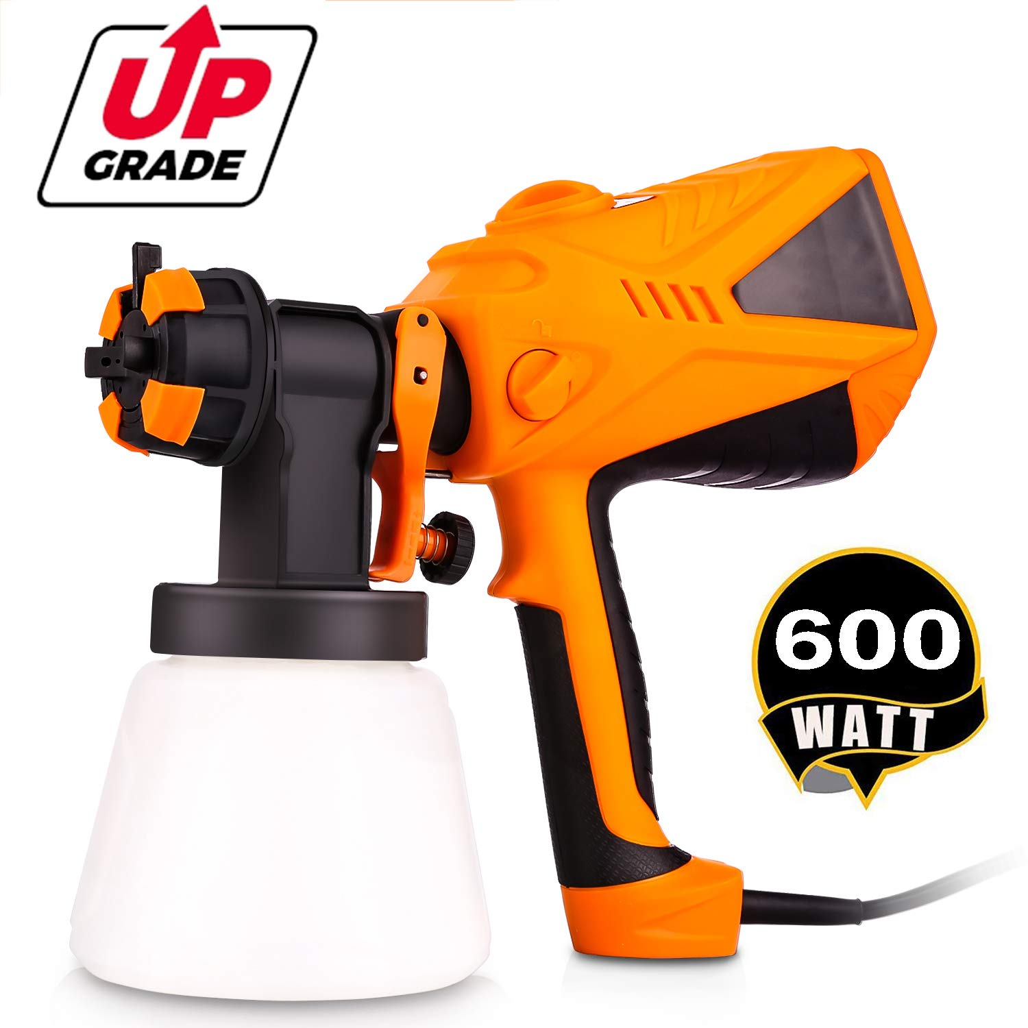 Anfan 600 Watt Electric Spray Gun HVLP Home Paint Sprayer with Three Spray Patterns + Three Nozzle Sizes + Adjustable Valve Knob + 1000ml Detachable Container + 4.9ft Power Line