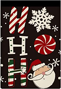 Christmas Ho Ho Ho Santa Garden Flag Durable Vertical Winter House Flags Double Sided Welcome Yard Flag Small Snowflakes Garden Flags 12x18 in Weatherproof Seasonal Flag for Holiday Party Decor